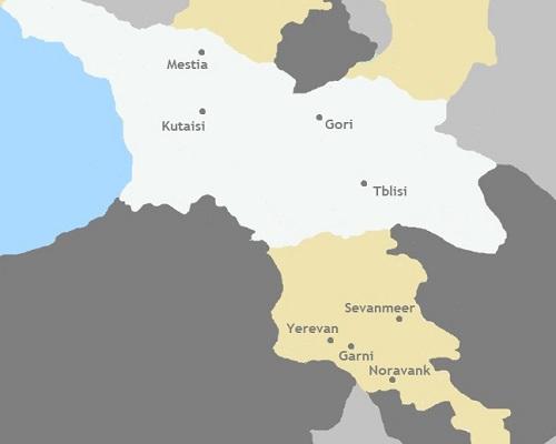 Kaart Armenië & Georgië