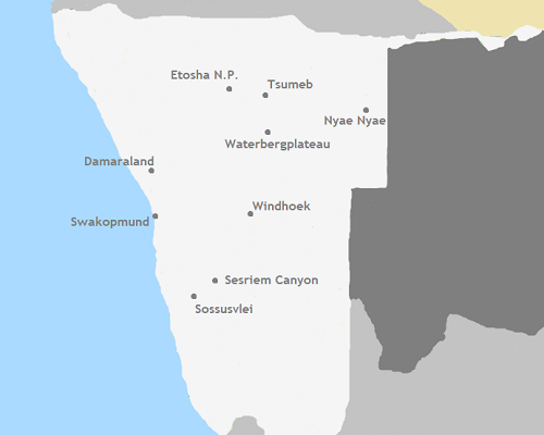 Kaart Namibië