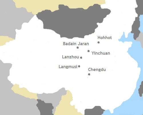 Kaart China - Binnen Mongolië