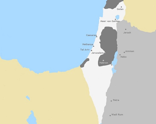 Kaart Israël, Palestina en Jordanië